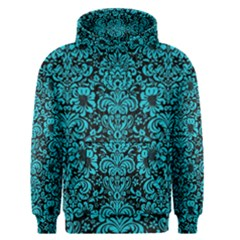 Damask2 Black Marble & Turquoise Colored Pencil (r) Men s Pullover Hoodie