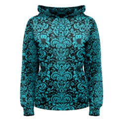 Damask2 Black Marble & Turquoise Colored Pencil (r) Women s Pullover Hoodie