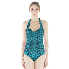 Damask2 Black Marble & Turquoise Colored Pencil (r) Halter Swimsuit