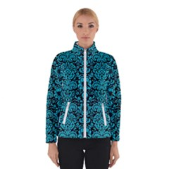 Damask2 Black Marble & Turquoise Colored Pencil (r) Winterwear