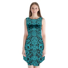 Damask2 Black Marble & Turquoise Colored Pencil (r) Sleeveless Chiffon Dress