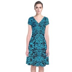 Damask2 Black Marble & Turquoise Colored Pencil (r) Short Sleeve Front Wrap Dress