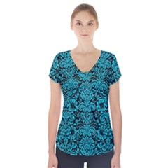 Damask2 Black Marble & Turquoise Colored Pencil (r) Short Sleeve Front Detail Top