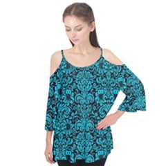 Damask2 Black Marble & Turquoise Colored Pencil (r) Flutter Tees