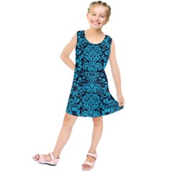 Damask2 Black Marble & Turquoise Colored Pencil (r) Kids  Tunic Dress