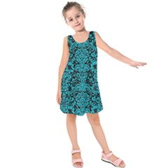 Damask2 Black Marble & Turquoise Colored Pencil (r) Kids  Sleeveless Dress