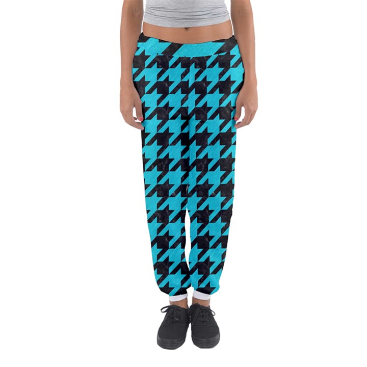 HOUNDSTOOTH1 BLACK MARBLE & TURQUOISE COLORED PENCIL Women s Jogger Sweatpants