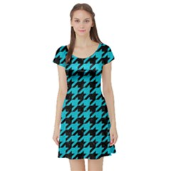 Houndstooth1 Black Marble & Turquoise Colored Pencil Short Sleeve Skater Dress
