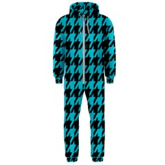 Houndstooth1 Black Marble & Turquoise Colored Pencil Hooded Jumpsuit (men)