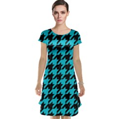 Houndstooth1 Black Marble & Turquoise Colored Pencil Cap Sleeve Nightdress
