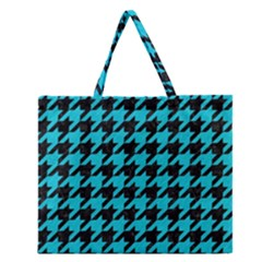 Houndstooth1 Black Marble & Turquoise Colored Pencil Zipper Large Tote Bag
