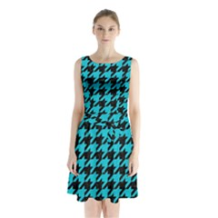 Houndstooth1 Black Marble & Turquoise Colored Pencil Sleeveless Waist Tie Chiffon Dress