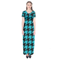 Houndstooth1 Black Marble & Turquoise Colored Pencil Short Sleeve Maxi Dress