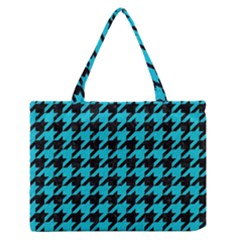 Houndstooth1 Black Marble & Turquoise Colored Pencil Zipper Medium Tote Bag