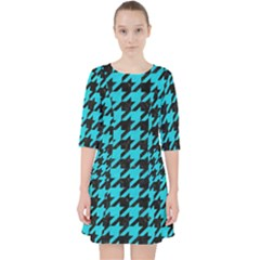 Houndstooth1 Black Marble & Turquoise Colored Pencil Pocket Dress