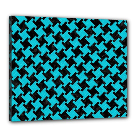 Houndstooth2 Black Marble & Turquoise Colored Pencil Canvas 24  X 20