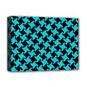 HOUNDSTOOTH2 BLACK MARBLE & TURQUOISE COLORED PENCIL Deluxe Canvas 16  x 12   View1