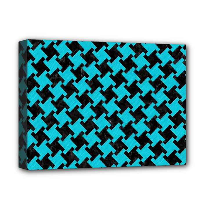 HOUNDSTOOTH2 BLACK MARBLE & TURQUOISE COLORED PENCIL Deluxe Canvas 16  x 12