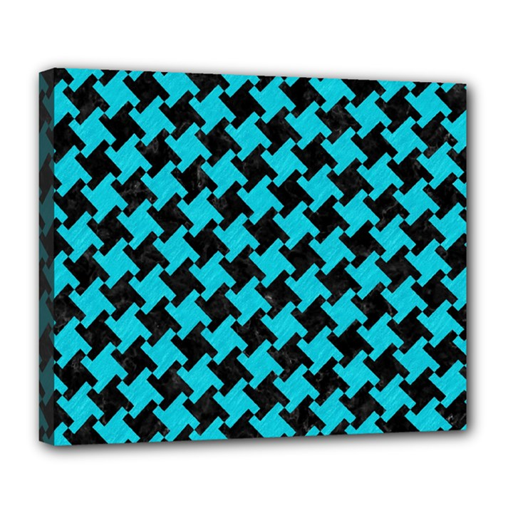 HOUNDSTOOTH2 BLACK MARBLE & TURQUOISE COLORED PENCIL Deluxe Canvas 24  x 20