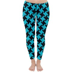 Houndstooth2 Black Marble & Turquoise Colored Pencil Classic Winter Leggings