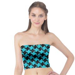 Houndstooth2 Black Marble & Turquoise Colored Pencil Tube Top