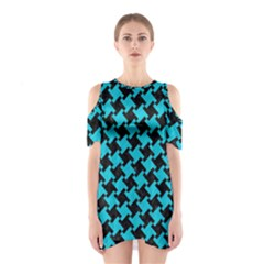 Houndstooth2 Black Marble & Turquoise Colored Pencil Shoulder Cutout One Piece