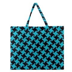 Houndstooth2 Black Marble & Turquoise Colored Pencil Zipper Large Tote Bag