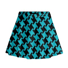 Houndstooth2 Black Marble & Turquoise Colored Pencil Mini Flare Skirt