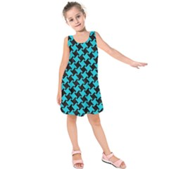 Houndstooth2 Black Marble & Turquoise Colored Pencil Kids  Sleeveless Dress