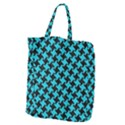 HOUNDSTOOTH2 BLACK MARBLE & TURQUOISE COLORED PENCIL Giant Grocery Zipper Tote View1