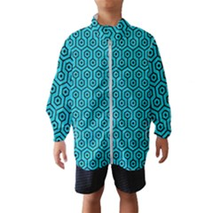 Hexagon1 Black Marble & Turquoise Colored Pencil Wind Breaker (kids)