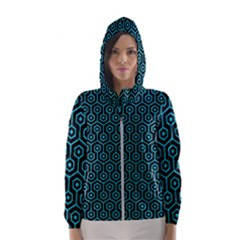Hexagon1 Black Marble & Turquoise Colored Pencil (r) Hooded Wind Breaker (women)