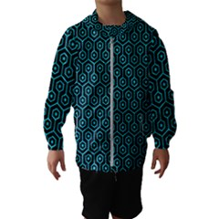 Hexagon1 Black Marble & Turquoise Colored Pencil (r) Hooded Wind Breaker (kids)
