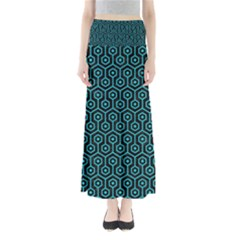 Hexagon1 Black Marble & Turquoise Colored Pencil (r) Full Length Maxi Skirt