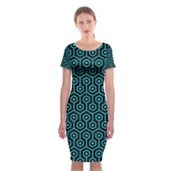 Hexagon1 Black Marble & Turquoise Colored Pencil (r) Classic Short Sleeve Midi Dress