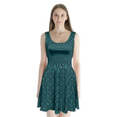 Hexagon1 Black Marble & Turquoise Colored Pencil (r) Split Back Mini Dress