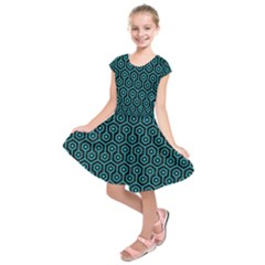 Hexagon1 Black Marble & Turquoise Colored Pencil (r) Kids  Short Sleeve Dress