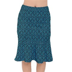 Hexagon1 Black Marble & Turquoise Colored Pencil (r) Mermaid Skirt