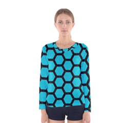 Hexagon2 Black Marble & Turquoise Colored Pencil Women s Long Sleeve Tee