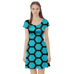 Hexagon2 Black Marble & Turquoise Colored Pencil Short Sleeve Skater Dress