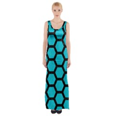 Hexagon2 Black Marble & Turquoise Colored Pencil Maxi Thigh Split Dress