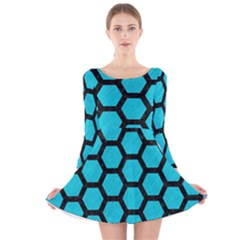 Hexagon2 Black Marble & Turquoise Colored Pencil Long Sleeve Velvet Skater Dress