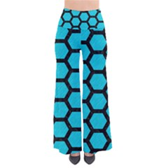 Hexagon2 Black Marble & Turquoise Colored Pencil Pants