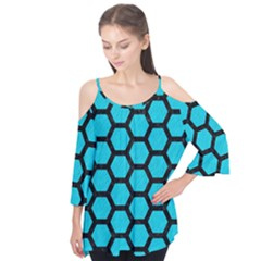 Hexagon2 Black Marble & Turquoise Colored Pencil Flutter Tees