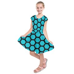 Hexagon2 Black Marble & Turquoise Colored Pencil Kids  Short Sleeve Dress