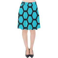 Hexagon2 Black Marble & Turquoise Colored Pencil Velvet High Waist Skirt