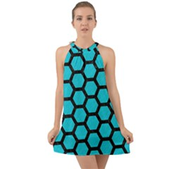 Hexagon2 Black Marble & Turquoise Colored Pencil Halter Tie Back Chiffon Dress