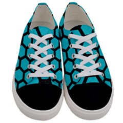 Hexagon2 Black Marble & Turquoise Colored Pencil Women s Low Top Canvas Sneakers