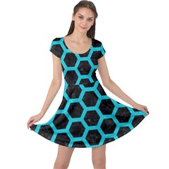 Hexagon2 Black Marble & Turquoise Colored Pencil (r) Cap Sleeve Dress