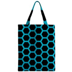 Hexagon2 Black Marble & Turquoise Colored Pencil (r) Zipper Classic Tote Bag